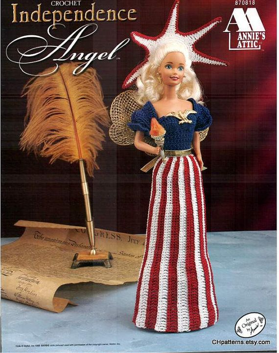 Crochet Independence Angel Fashion Doll Dress Pattern Fits Barbie
