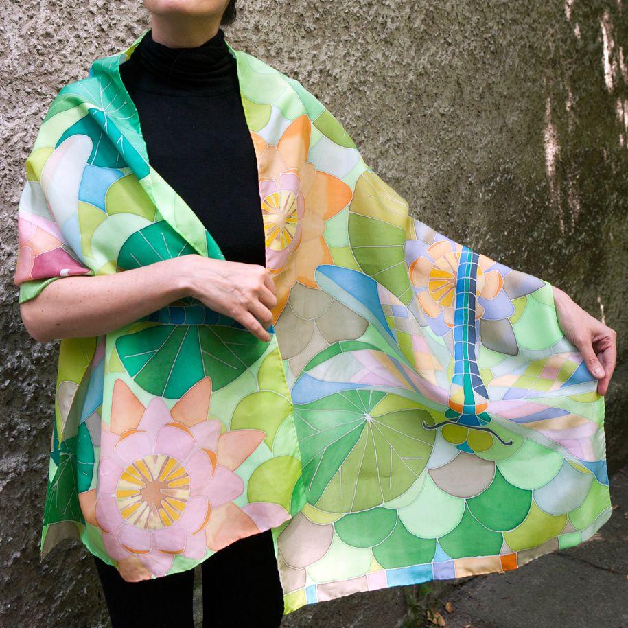 47f068e71c642b Ръчно рисувани копринени шалове батик върху коприна цветя коприна от  BGTariko | jedwab