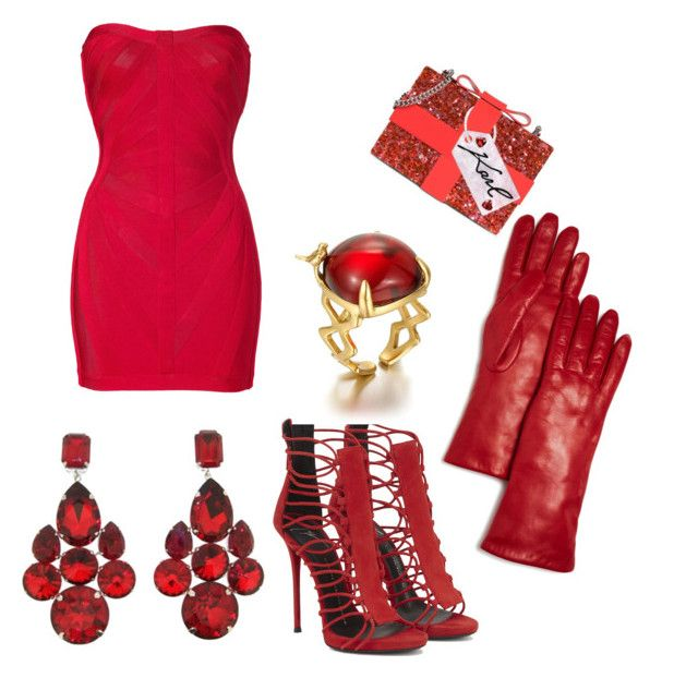 """Lady in Red..."" by jayperozo ❤ liked on Polyvore featuring Hervé Léger, Karl Lagerfeld, Dolce&Gabbana and Bloomingdale's"