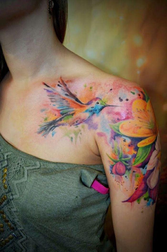 1001 Ideas De Tatuajes De Flores En Diferentes Estilos - Tatuajes-hombro-y-brazo-mujer
