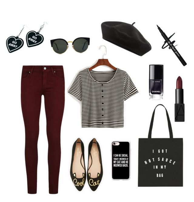 """""""Antisocialize"""" by technocarnation on Polyvore featuring Accessorize, RetroSuperFuture, Paige Denim, Kate Spade, Casetify, Witch Worldwide and NARS Cosmetics"""