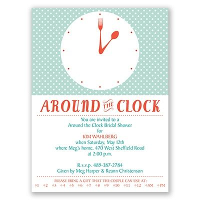 around the clock bridal shower invitations with modern day style theres an area