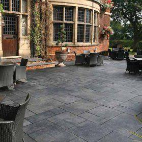 Limestone Paving Black Carbon Concrete Stain Patio Limestone Patio Patio Stain