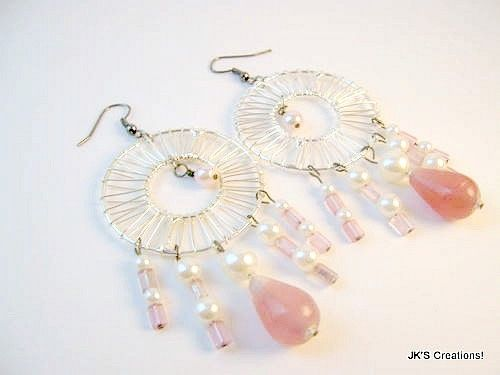 Blush pink teardrops with round cream pearls beaded dangle earrings
