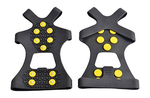 Onefeng Sports Ice Cleats Ice Grips Traction Cleats Boot Traction Cleat Rubber Spikes Anti Slip 10-Stud Crampons Slip-on Stretch Footwear