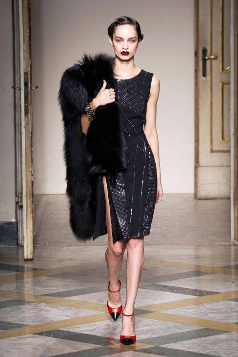 Black dress and fur
