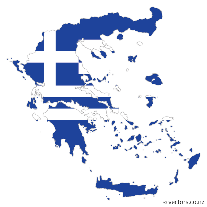 Flag Vector Map of Greece | Evropa in 2019 | Map vector ...