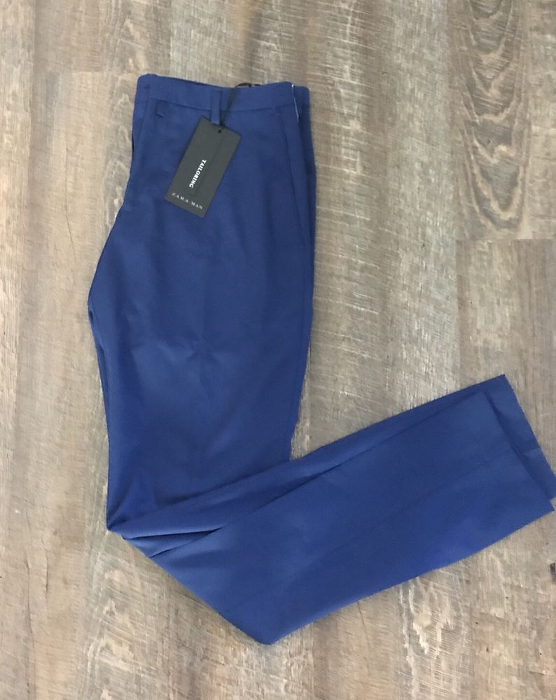 4b1ab99e Zara Man Dress Pants Size 32 x 33 Blue NWT MSRP $59.90 #Zara #DressFlatFront
