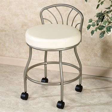 Flare Back Powder Coat Finish Vanity Chairthe 16 Dia Padded Seat Upholstered In Eggshell White Textured Vinyl Is 20 H Steel Frame Has A Metallic