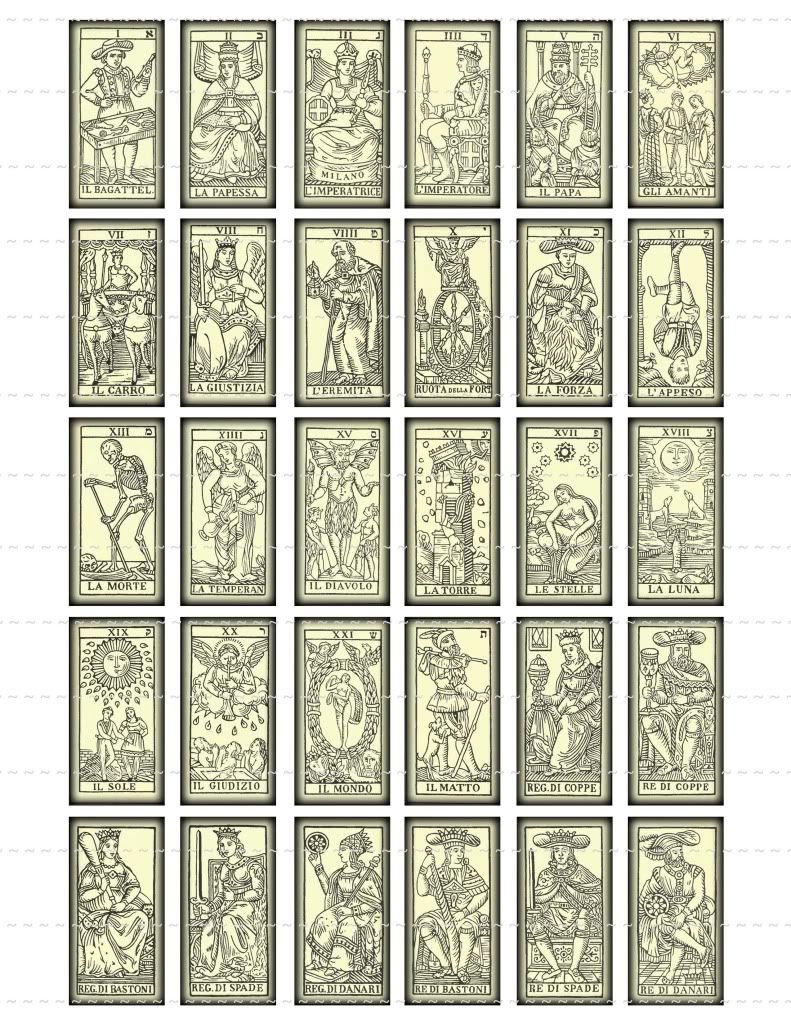 Details About Vintage Tarot Cards Collage Sheets 1x2 1