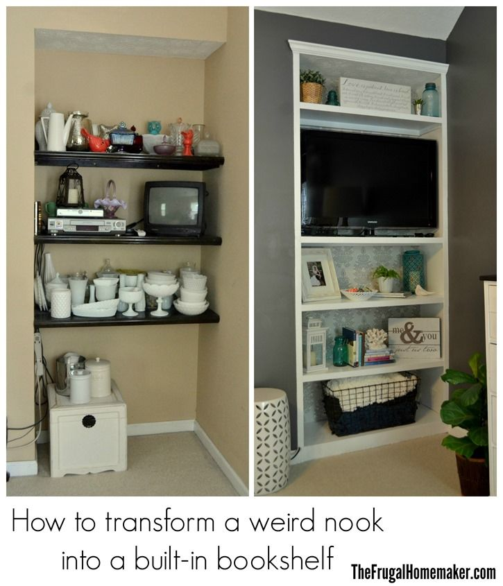 How To Transform A Weird Nook Into A Built In Bookshelf Diy Home