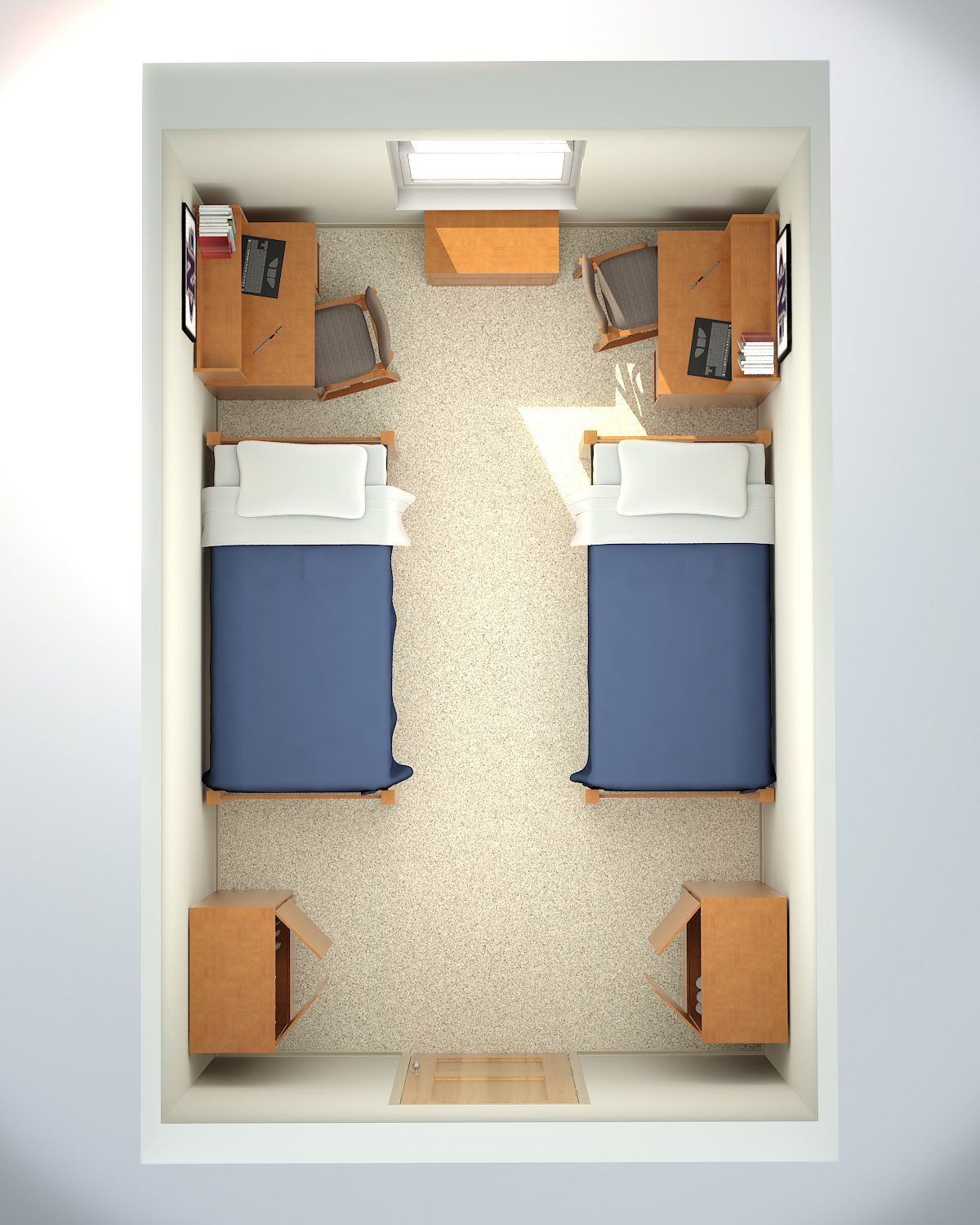 Dorm layout creates a space for the desk area perhaps dorm ideas college room dorm - Dorm room layout ideas ...