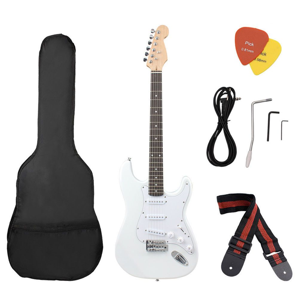 White Beginner Electric Electronic Guitar w/ Starter Kit
