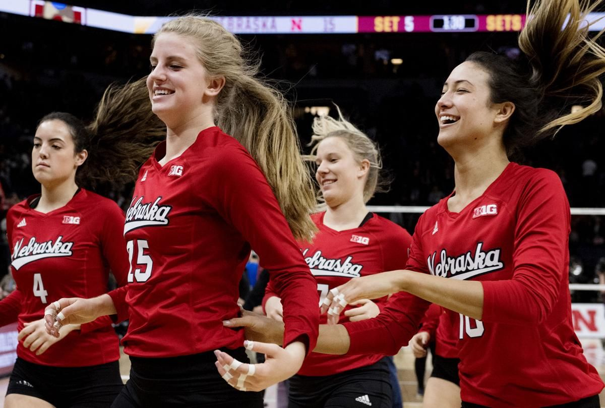 Final Four Volleyball Nebraska Back On The Practice Court Ahead Of National Championship Volleyball Inspiration Volleyball Training Female Volleyball Players