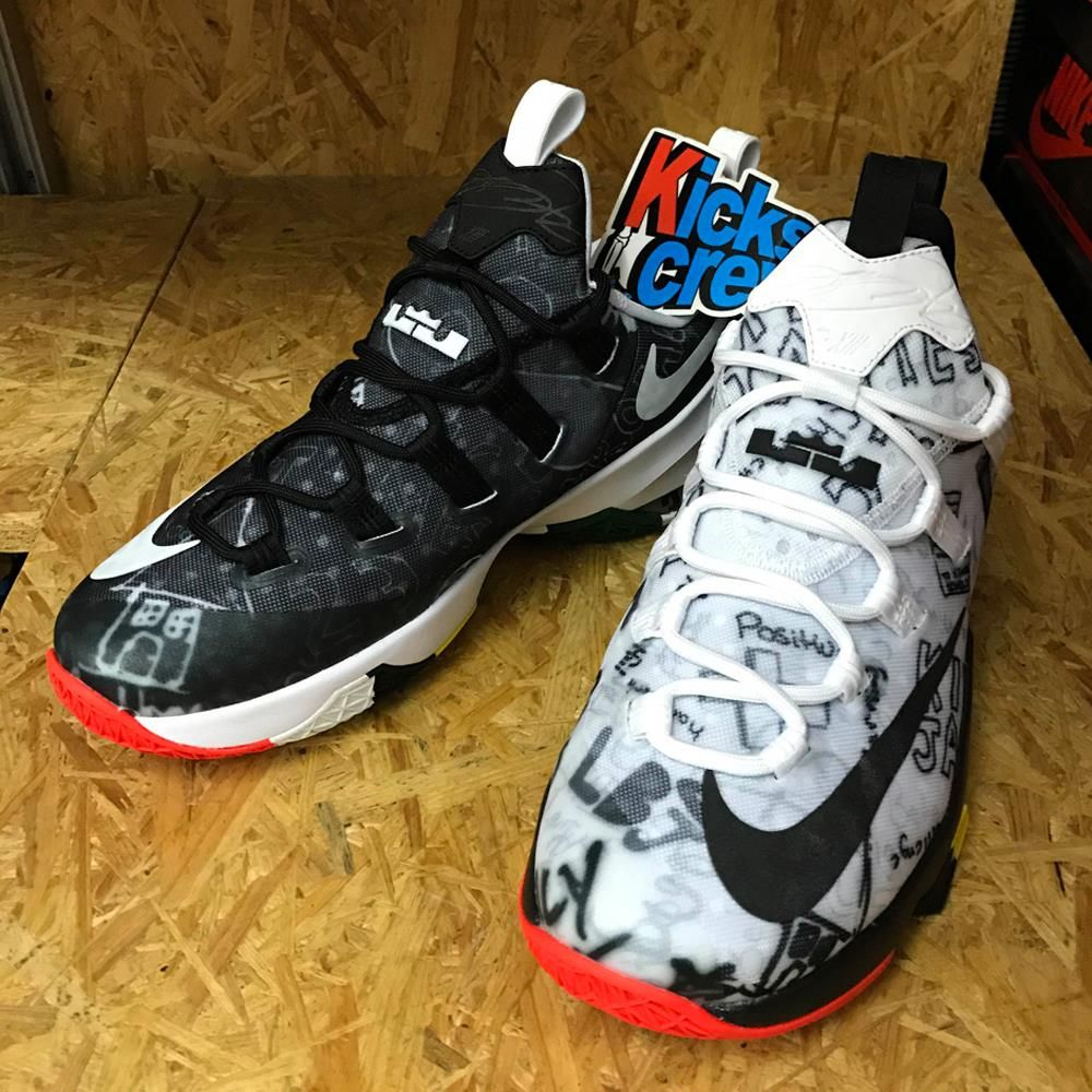 brand new 867bc 534ce Nike LeBron 13 Low Graffiti Black White 849782-999