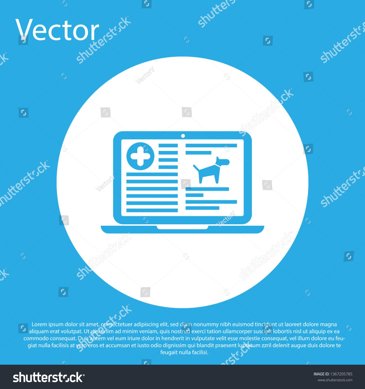Blue Medical Clinical Record Dog On Laptop Icon Isolated On Blue