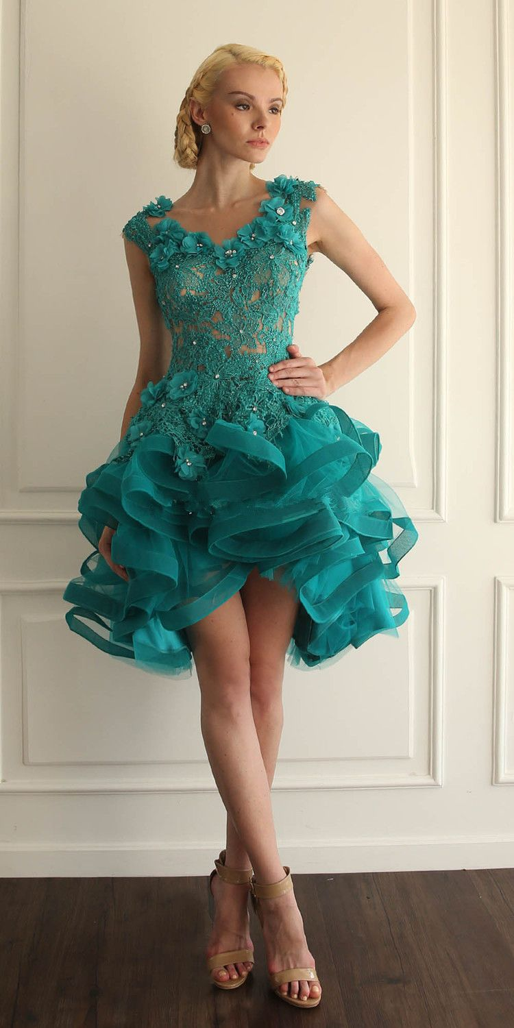 Ball Gown 2015 Turquoise Homecoming Dresses Organza Blue Open Back ...