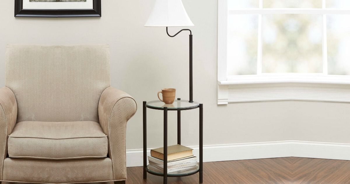 Hip2save Mainstays End Table And Lamp Combo Just 24 92 At Walmart Com Regularly 40 This End Table Ha Floor Lamp Table Glass End Tables Black Floor Lamp