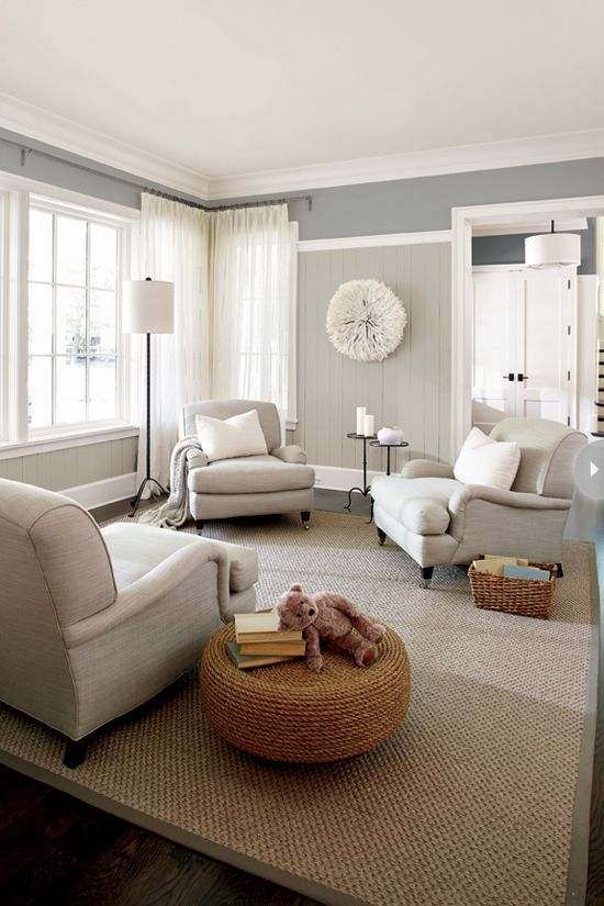 Living Room With Neutral Color Palette Jute Rug, Grays, Whites
