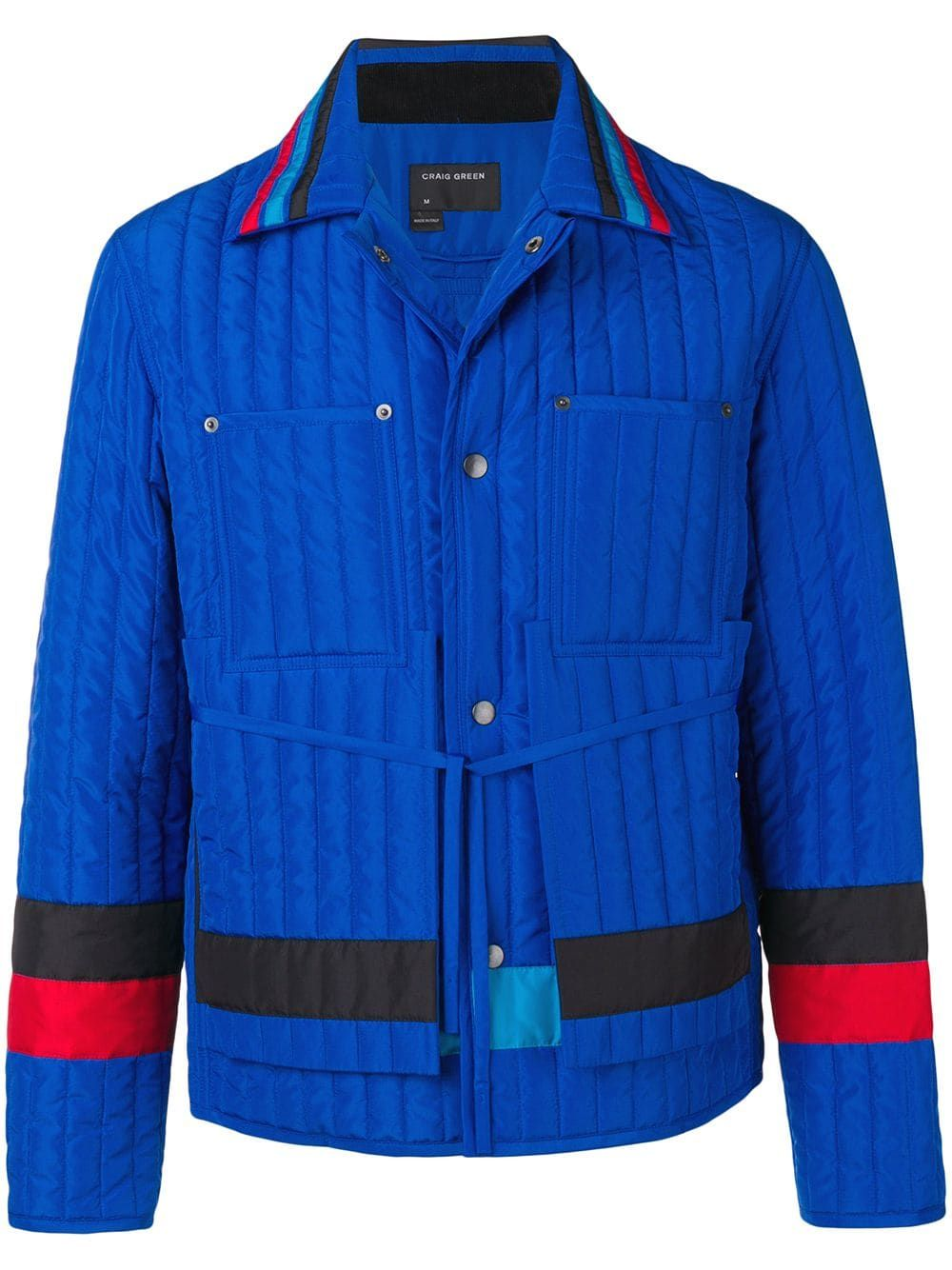 Craig Green Striped Quilted Shell Jacket In Blue Modesens Jackets Quilted Jacket Green Outerwear