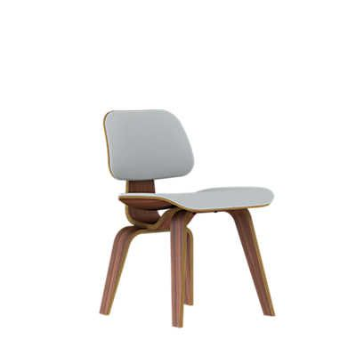 Show details for Eames Plywood Dining Chair by Herman Miller, Upholstered with Wooden Legs