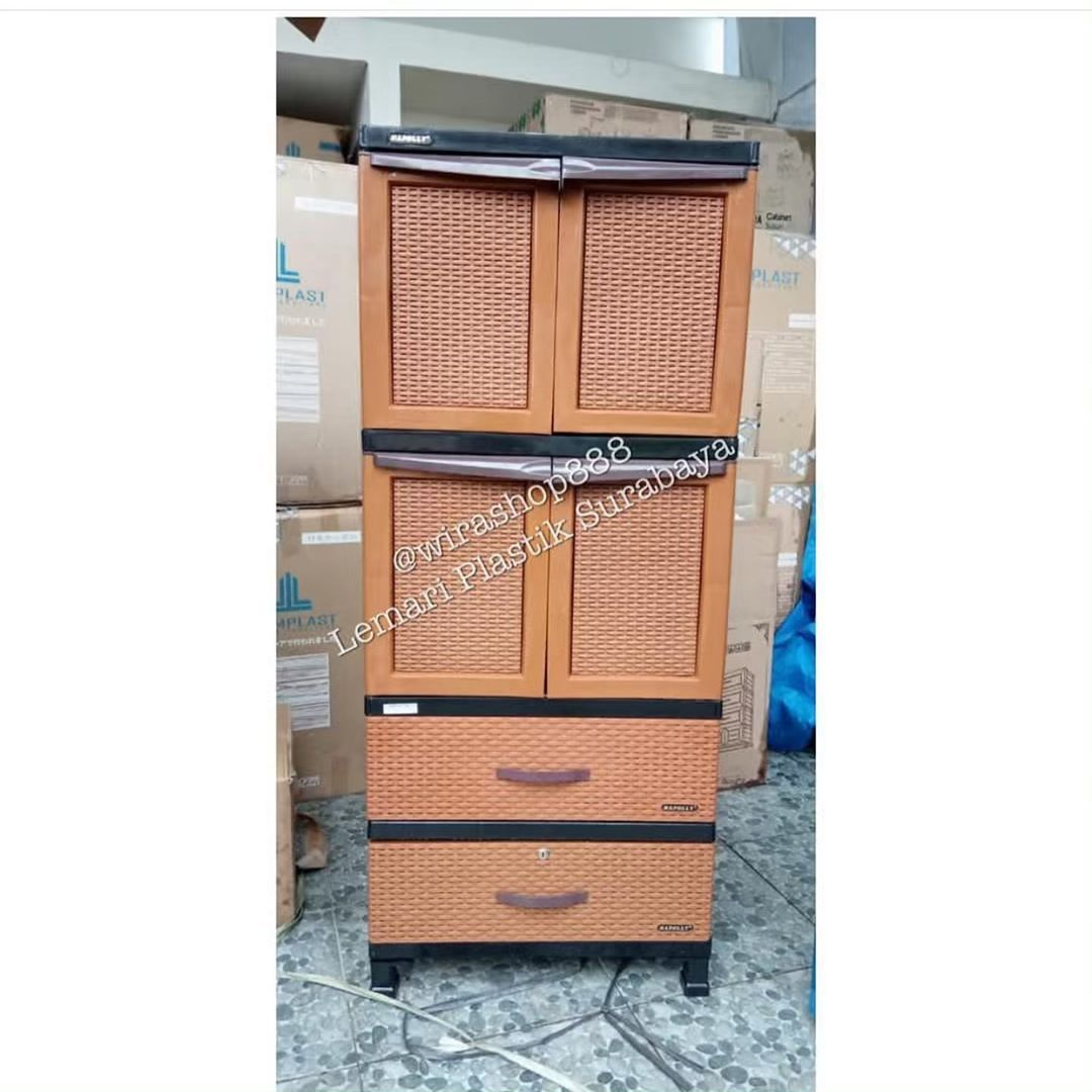 Napolly wardrobe 4 door rattan motif combination 2 drawers …