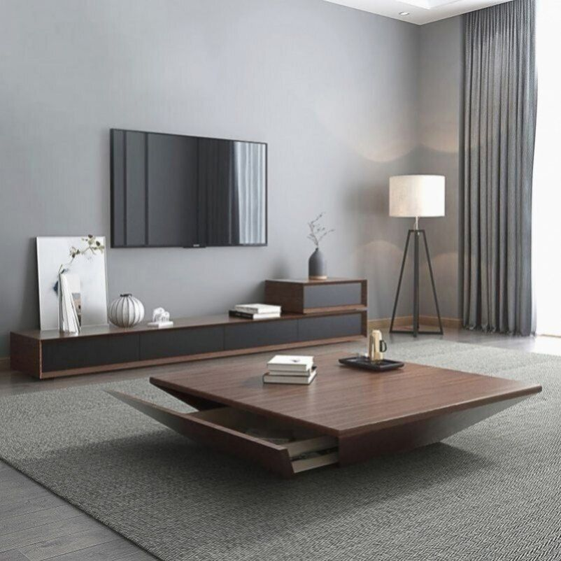 Modern Wood Coffee Table With Storage Square Drum Coffee Table With Drawer In 2020 Wohnung Wohnzimmer Wohnzimmer Ideen Wohnung Wohnzimmer Inspiration