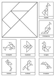 Tangram à imprimer en noir et blanc avec 8 modèles d'animaux | Tangram à imprimer, Tangram ...