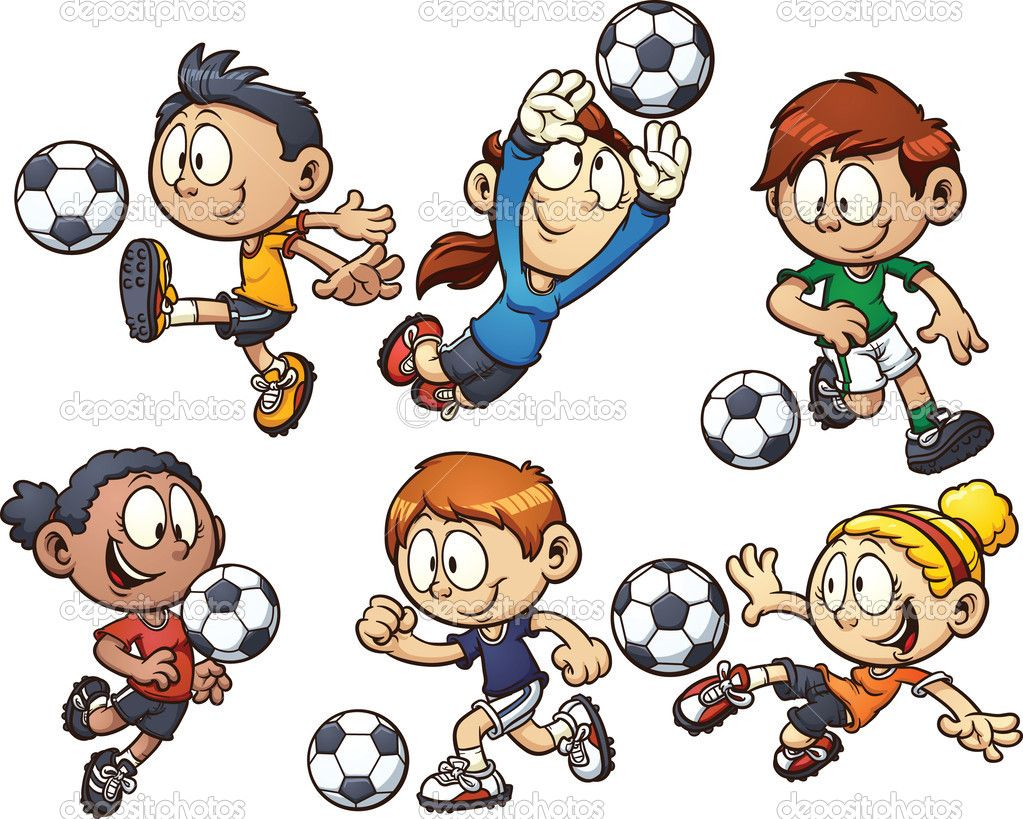 cartoon kids playing soccer. vector clip art illustration with