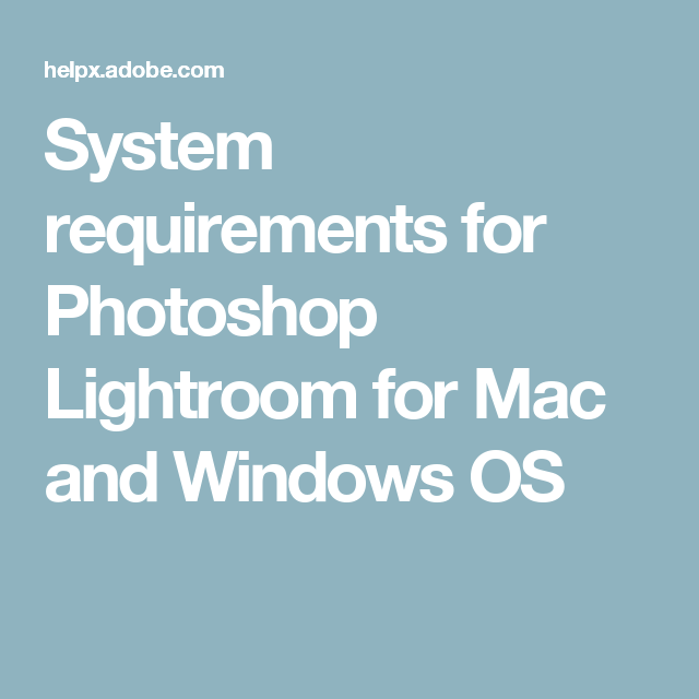 Lightroom classic system requirements