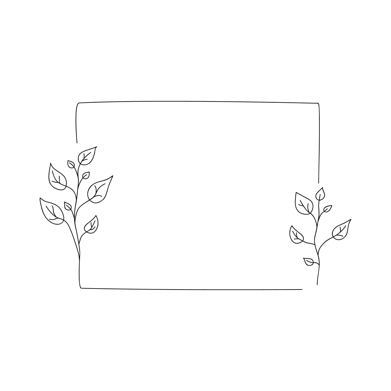 Minimalist Rustic Floral Frame Svg Botanical Frame Square Etsy Floral Doodle Thank You Card Template Floral