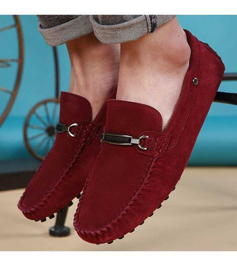 Red silver buckle leather slip on shoe loafer is part of Leather slip on shoes - Buy Men's red leather shoe loafers online, Free shipping Aus, US, UK, CA, International   ShoeEver com 1233MS