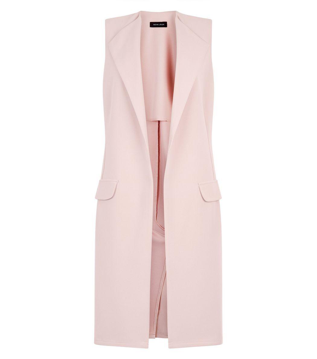 Shell Pink Double Pocket Sleeveless Jacket Sleeveless Jacket Outerwear Women Fashion