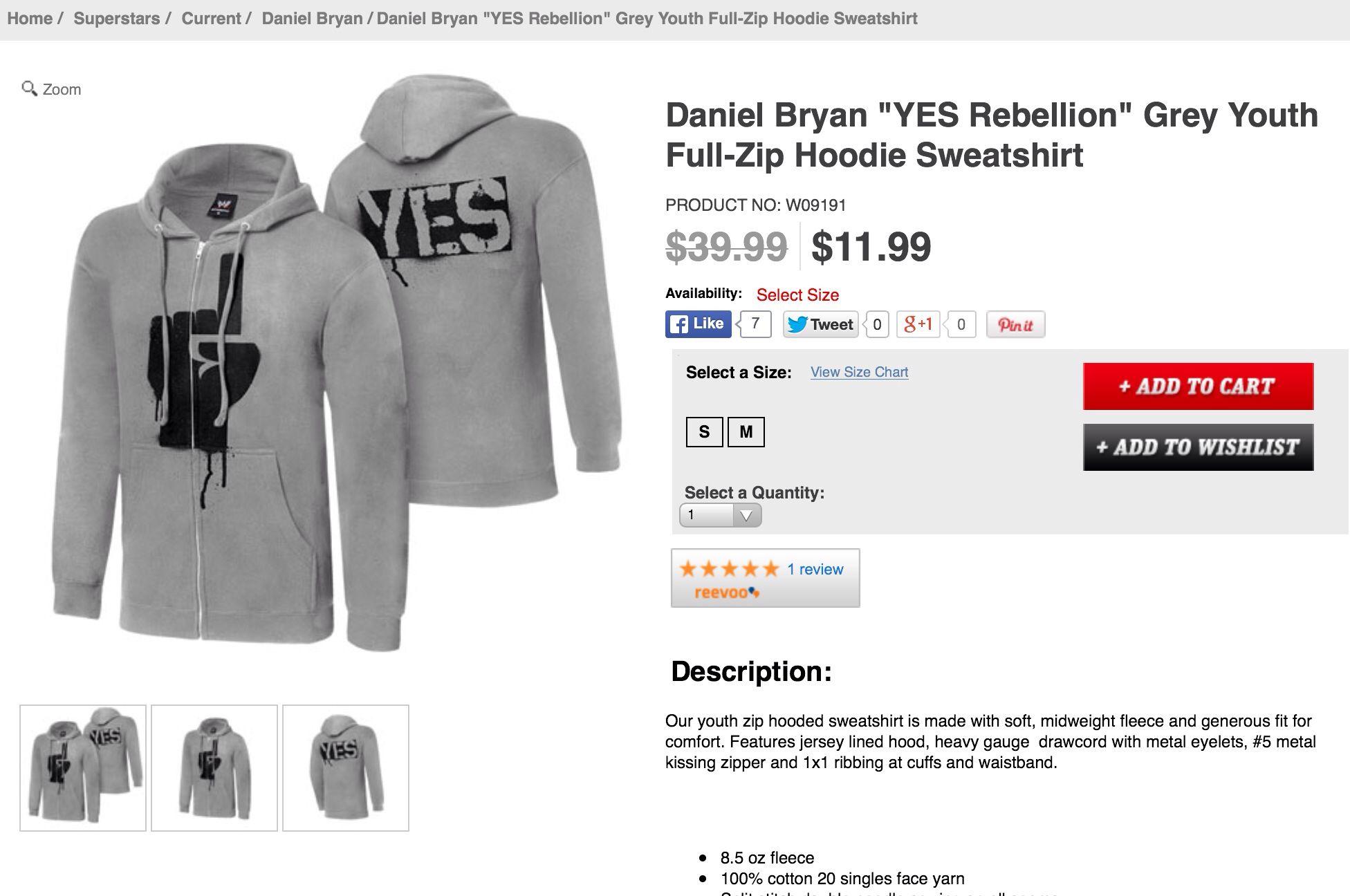 Daniel Bryan Yes Revolution hoodie sweatshirt  WWE Merch