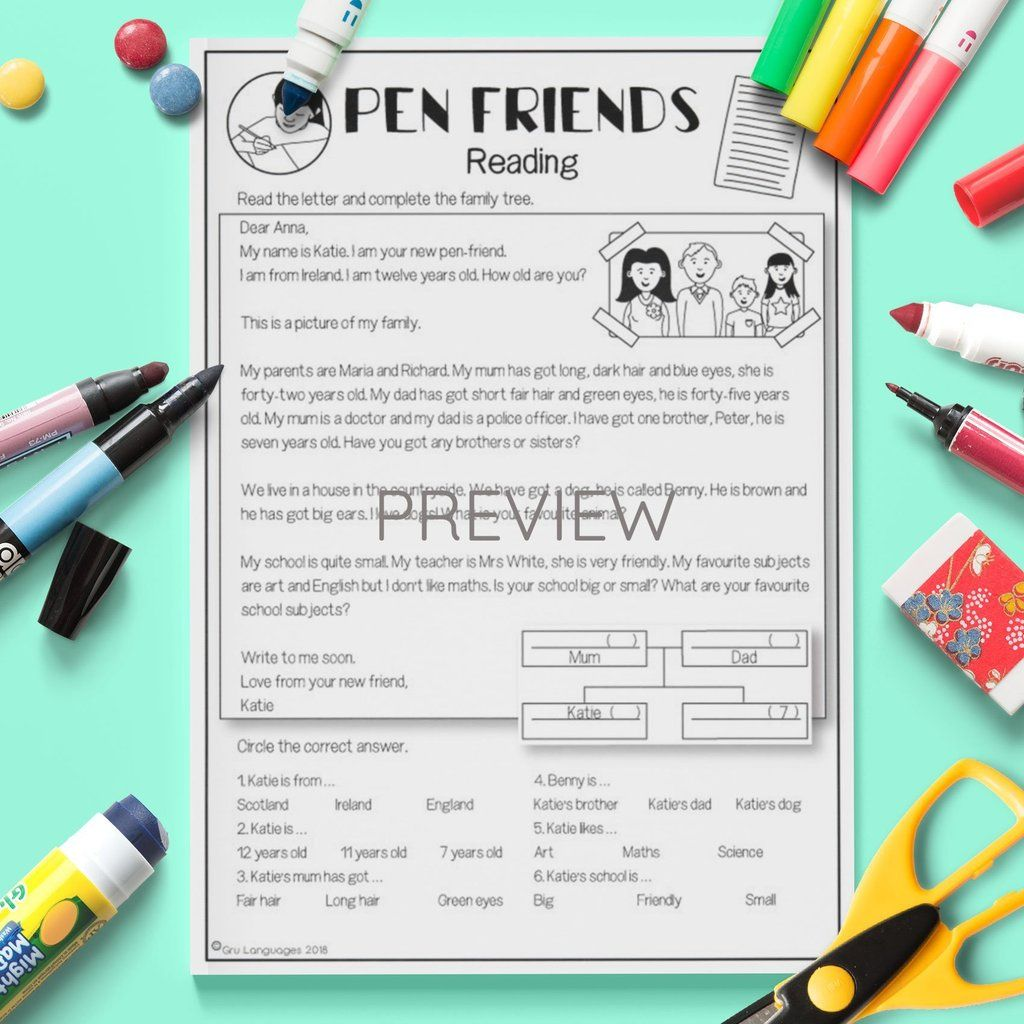 Pen Friends Reading Activity