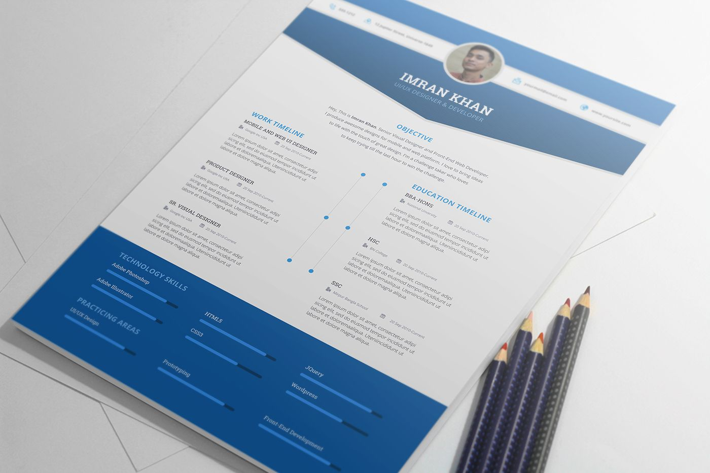 FREE Resume Template PSD 4 Colors on