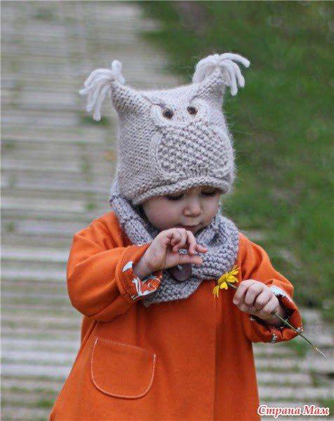 Красивые детские шапочки с узором Сова. - Рукоделие 13