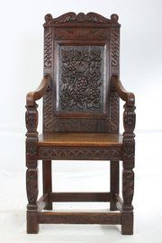 Charming Carved Oak Wainscot Chair