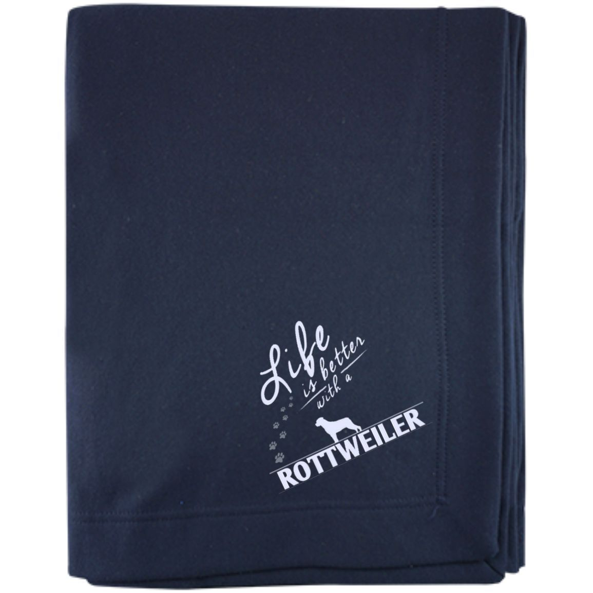Rottweiler - Life Is Better With A Rottweiler Paws - Embroidered Sweatshirt Blanket