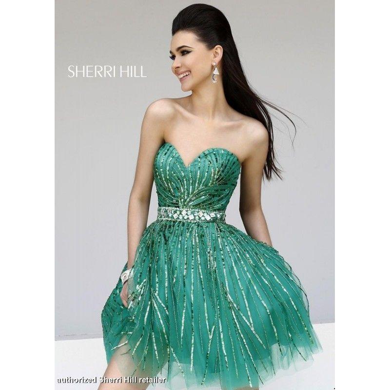 Designer Bodice Green Sequined Strapless Sweetheart Sherri Hill Dress 8522