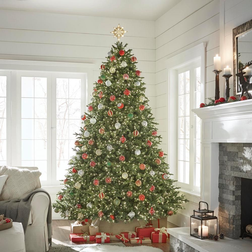 Home Accents Holiday 9 Ft Pre Lit Led Spruce Artificial Christmas Tree With 3 900 Warm White Micro Lights Tg90p4969l06 The Home Depot Christmas Tree Inspiration Pre Lit Christmas Tree Christmas Tree