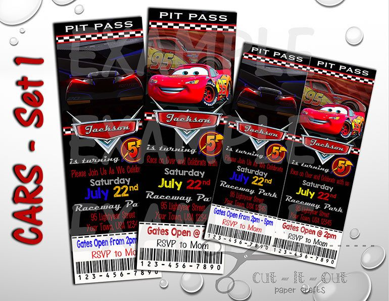 Cars 3 Birthday Invite Disney Invitation Custom Party Invites Pit Pass By CutItOutPaperCrafts On Etsy