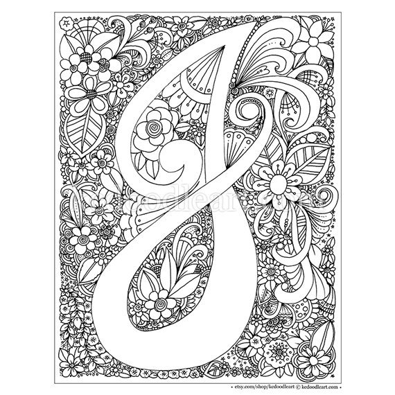 Instant Digital Download Adult Coloring Page Letter J Adult