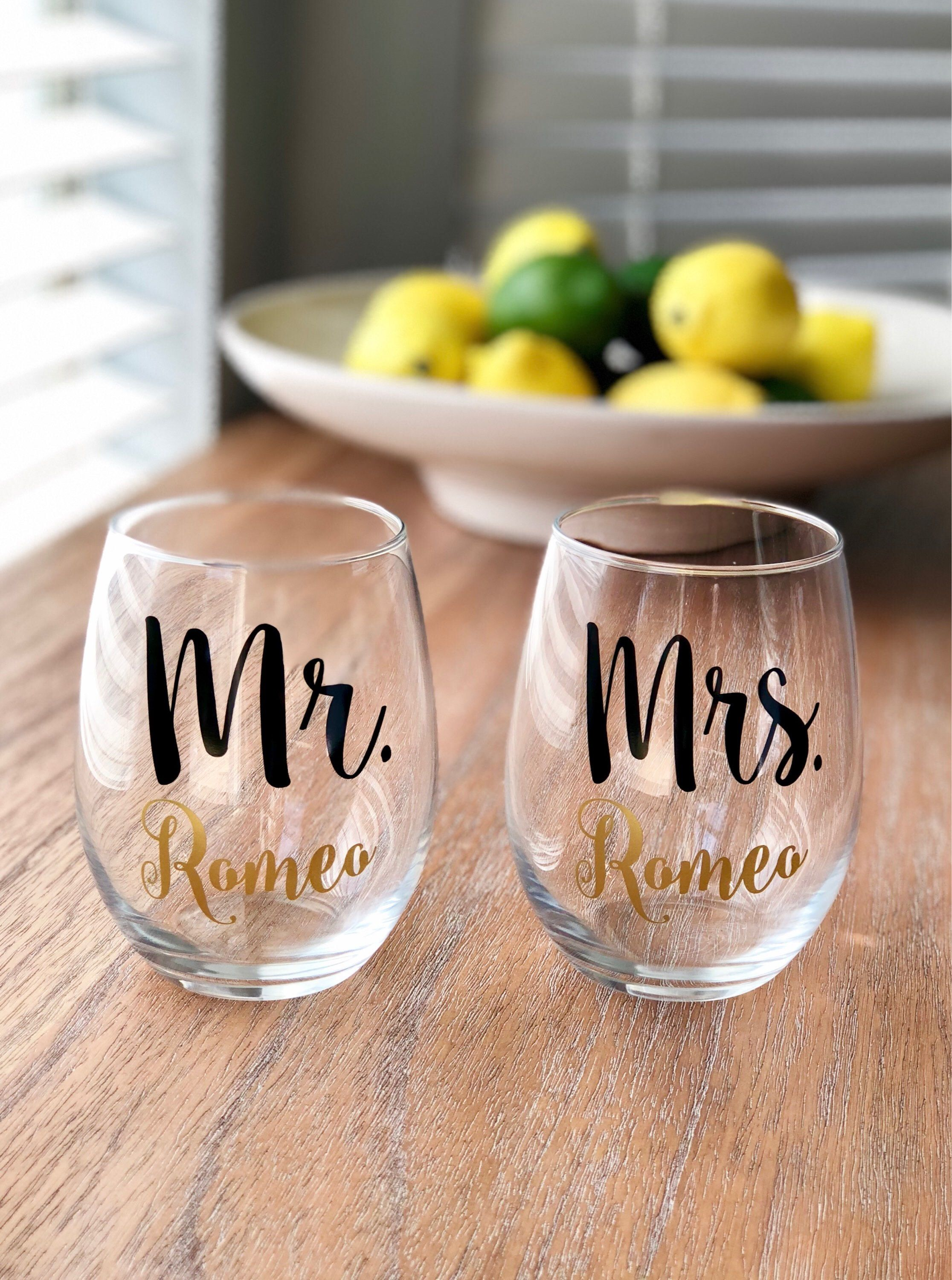 Excited to share the latest addition to my #etsy shop Pair of Personalized Mr. u0026 Mrs. Wine Glasses - Wedding gift - Bridal Shower gift - Engagement Gift ... & Mr and Mrs Wine Glasses Personalized Wedding Gift Engagement Gift ...