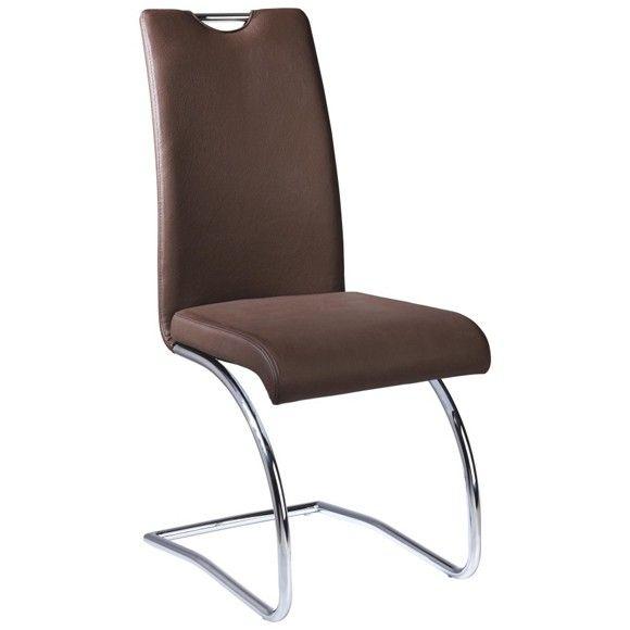 Schwingstuhl In Leder Metall Braun Chromfarben Stuhle Schwingstuhl Wohn Esszimmer