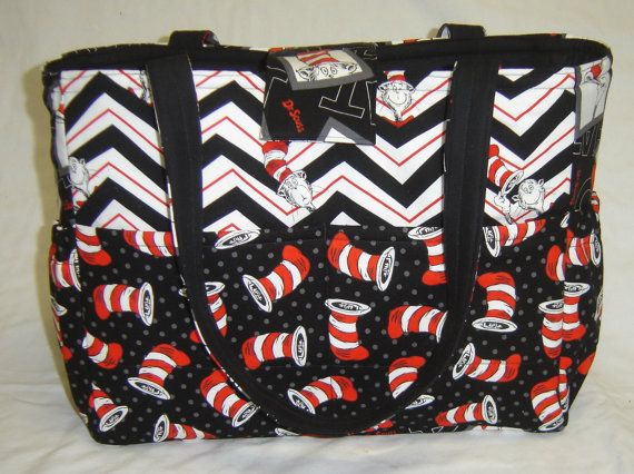 Black And White Dr Seuss Cat In The Hat Diaper Bag By Jlaughing 45 00