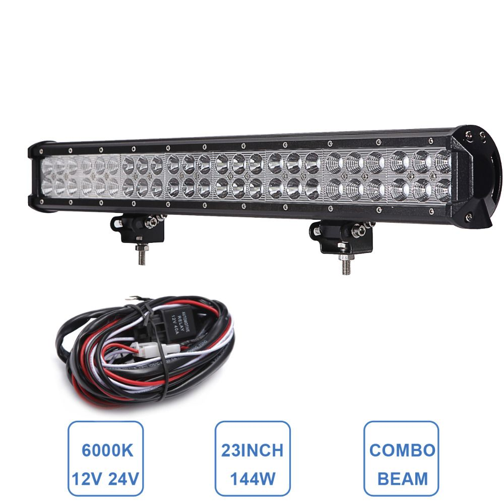 23 144w Off Road Led Light Bar Combo 12v 24v 4wd Awd 4x4 Suv Caravan Pickup Van Camper Boat Truck Trailer Ute Pickup Camping Camper Boat Off Road Led Lights