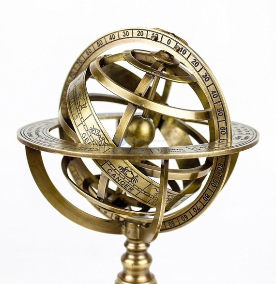 Solid Brass Engraved Tabletop Armillary Nautical Sphere Globes World Globe