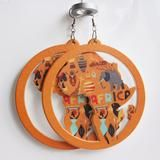 Orange Color African Heritage Printed Map Earrings   Afrocentric Earrings   Ethnic Earring  Afrocentric Jewelry. Gallery