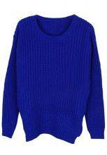 Blue Long Sleeve Hollow Vertical Stripe Sweater $36.45